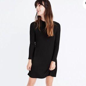 Madewell Black Ribbed Cityblock Cotton Dress. S